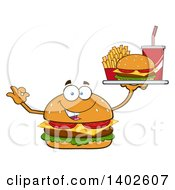 Clipart Of A Cheeseburger Character Mascot Gesturing Ok And Holding A Tray Of Food Royalty Free Vector Illustration by Hit Toon