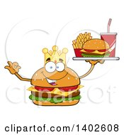 Clipart Of A King Cheeseburger Character Mascot Gesturing Ok And Holding A Tray Royalty Free Vector Illustration by Hit Toon