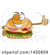 Clipart Of A Cheeseburger Character Mascot Winking And Giving A Thumb Up Royalty Free Vector Illustration