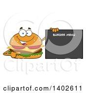Clipart Of A Cheeseburger Character Mascot Pointing To A Menu Royalty Free Vector Illustration
