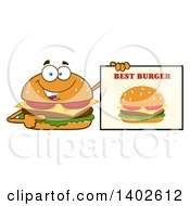 Clipart Of A Cheeseburger Character Mascot Pointing To A Best Burger Sign Royalty Free Vector Illustration by Hit Toon