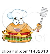 Clipart Of A Chef Cheeseburger Character Mascot Holding A Spatula Royalty Free Vector Illustration by Hit Toon