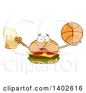 Clipart Of A Cheeseburger Character Mascot Holding A Beer And Basketball Royalty Free Vector Illustration by Hit Toon
