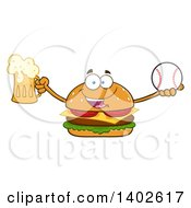 Clipart Of A Cheeseburger Character Mascot Holding A Beer And Baseball Royalty Free Vector Illustration by Hit Toon
