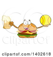 Clipart Of A Cheeseburger Character Mascot Holding A Beer And Softball Royalty Free Vector Illustration by Hit Toon