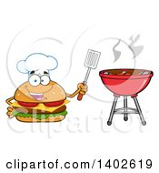 Clipart Of A Chef Cheeseburger Character Mascot Holding A Spatula By A Bbq Royalty Free Vector Illustration
