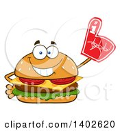 Clipart Of A Cheeseburger Character Mascot Wearing A Foam Finger Royalty Free Vector Illustration