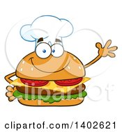 Clipart Of A Chef Cheeseburger Character Mascot Waving Royalty Free Vector Illustration