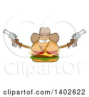 Clipart Of A Cowboy Cheeseburger Character Mascot Holding Pistols Royalty Free Vector Illustration