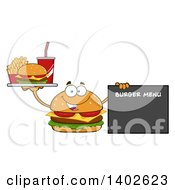 Clipart Of A Cheeseburger Character Mascot Holding A Tray And Pointing To A Menu Royalty Free Vector Illustration by Hit Toon