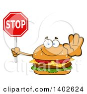 Clipart Of A Cheeseburger Character Mascot Holding Out A Hand And Stop Sign Royalty Free Vector Illustration by Hit Toon