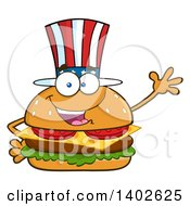 Clipart Of A Patriotic American Cheeseburger Character Mascot Waving Royalty Free Vector Illustration by Hit Toon