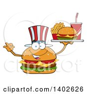 Clipart Of A Patriotic American Cheeseburger Character Mascot Gesturing Ok And Holding A Tray Royalty Free Vector Illustration by Hit Toon