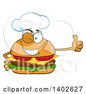 Clipart Of A Chef Cheeseburger Character Mascot Giving A Thumb Up Royalty Free Vector Illustration by Hit Toon