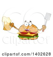 Clipart Of A Cheeseburger Character Mascot Holding A Beer And Spatula Royalty Free Vector Illustration by Hit Toon