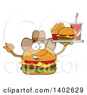 Clipart Of A Cowboy Cheeseburger Character Mascot Gesturing Ok And Holding A Tray Royalty Free Vector Illustration by Hit Toon