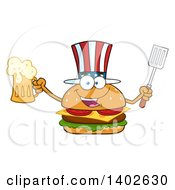 Clipart Of A Patriotic American Cheeseburger Character Mascot Holding A Beer Mug And Spatula Royalty Free Vector Illustration by Hit Toon