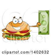 Clipart Of A Cheeseburger Character Mascot Holding Cash Money Royalty Free Vector Illustration by Hit Toon