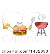 Clipart Of A Cheeseburger Character Mascot Holding A Beer And Spatula By A Bbq Royalty Free Vector Illustration