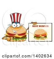 Clipart Of A Patriotic American Cheeseburger Character Mascot Holding A Best Burger Sign Royalty Free Vector Illustration by Hit Toon
