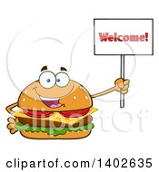 Clipart Of A Cheeseburger Character Mascot Holding A Welcome Sign Royalty Free Vector Illustration by Hit Toon