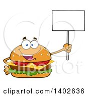 Clipart Of A Cheeseburger Character Mascot Holding A Blank Sign Royalty Free Vector Illustration by Hit Toon