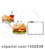 Clipart Of A Cheeseburger Character Mascot Holding A Tray Of Food And A Blank Sign Royalty Free Vector Illustration by Hit Toon