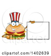 Clipart Of A Patriotic American Cheeseburger Character Mascot Holding A Blank Sign Royalty Free Vector Illustration by Hit Toon