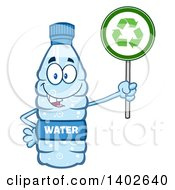 Clipart Of A Cartoon Bottled Water Character Mascot Holding A Recycle Sign Royalty Free Vector Illustration