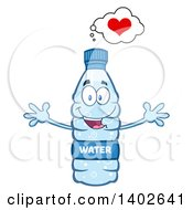 Clipart Of A Cartoon Loving Bottled Water Character Mascot With Open Arms Royalty Free Vector Illustration