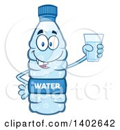 Clipart Of A Cartoon Bottled Water Character Mascot Holding A Cup Royalty Free Vector Illustration