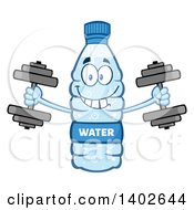Clipart Of A Cartoon Bottled Water Character Mascot Working Out With Dumbbells Royalty Free Vector Illustration