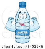 Clipart Of A Cartoon Bottled Water Character Mascot Flexing Royalty Free Vector Illustration