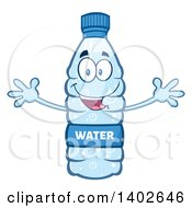 Clipart Of A Cartoon Bottled Water Character Mascot With Open Arms Royalty Free Vector Illustration
