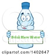 Clipart Of A Cartoon Bottled Water Character Mascot Holding A Drink More Water Sign Royalty Free Vector Illustration
