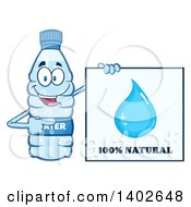 Clipart Of A Cartoon Bottled Water Character Mascot By A 100 Percent Natural Sign Royalty Free Vector Illustration