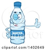 Clipart Of A Cartoon Bottled Water Character Mascot Giving A Thumb Up And Winking Royalty Free Vector Illustration