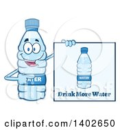 Clipart Of A Cartoon Bottled Water Character Mascot By A Drink More Water Sign Royalty Free Vector Illustration by Hit Toon