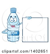 Clipart Of A Cartoon Bottled Water Character Mascot Holding A Blank Sign Royalty Free Vector Illustration
