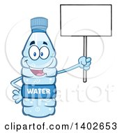 Clipart Of A Cartoon Bottled Water Character Mascot Holding Up A Blank Sign Royalty Free Vector Illustration
