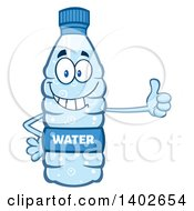 Clipart Of A Cartoon Bottled Water Character Mascot Giving A Thumb Up Royalty Free Vector Illustration