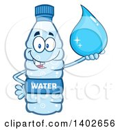 Clipart Of A Cartoon Bottled Water Character Mascot Holding A Droplet Royalty Free Vector Illustration