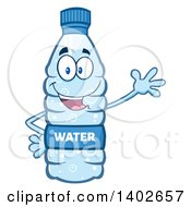 Clipart Of A Cartoon Bottled Water Character Mascot Waving Royalty Free Vector Illustration
