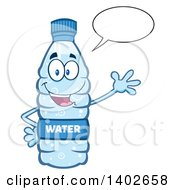 Clipart Of A Cartoon Bottled Water Character Mascot Talking And Waving Royalty Free Vector Illustration by Hit Toon