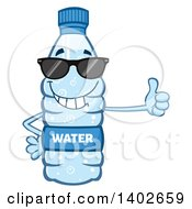Clipart Of A Cartoon Bottled Water Character Mascot Wearing Sunglasses And Giving A Thumb Up Royalty Free Vector Illustration