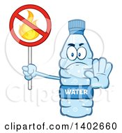 Clipart Of A Cartoon Bottled Water Character Mascot Gesturing To Stop And Holding A No Fire Sign Royalty Free Vector Illustration