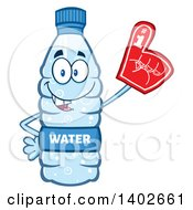 Clipart Of A Cartoon Bottled Water Character Mascot Wearing A Foam Finger Royalty Free Vector Illustration