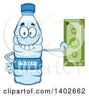 Clipart Of A Cartoon Bottled Water Character Mascot Holding Cash Money Royalty Free Vector Illustration