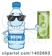 Clipart Of A Cartoon Bottled Water Character Mascot Wearing Sunglasses And Holding Cash Money Royalty Free Vector Illustration