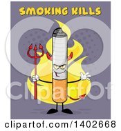 Clipart Of A Cartoon Devil Cigarette Mascot Character On Fire With Smoking Kills Text On Purple Royalty Free Vector Illustration by Hit Toon